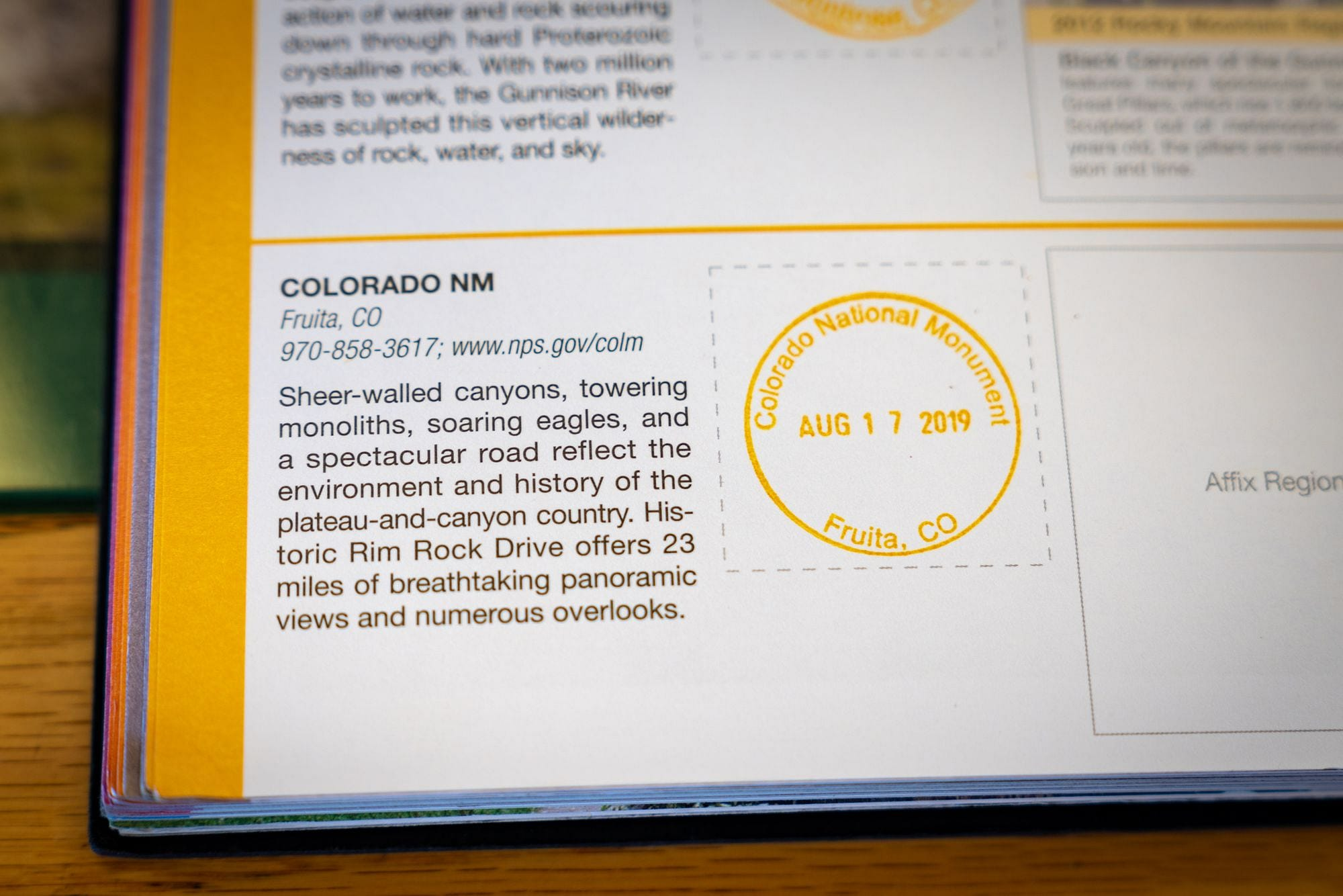 Colorado National Monument Passport Stamp