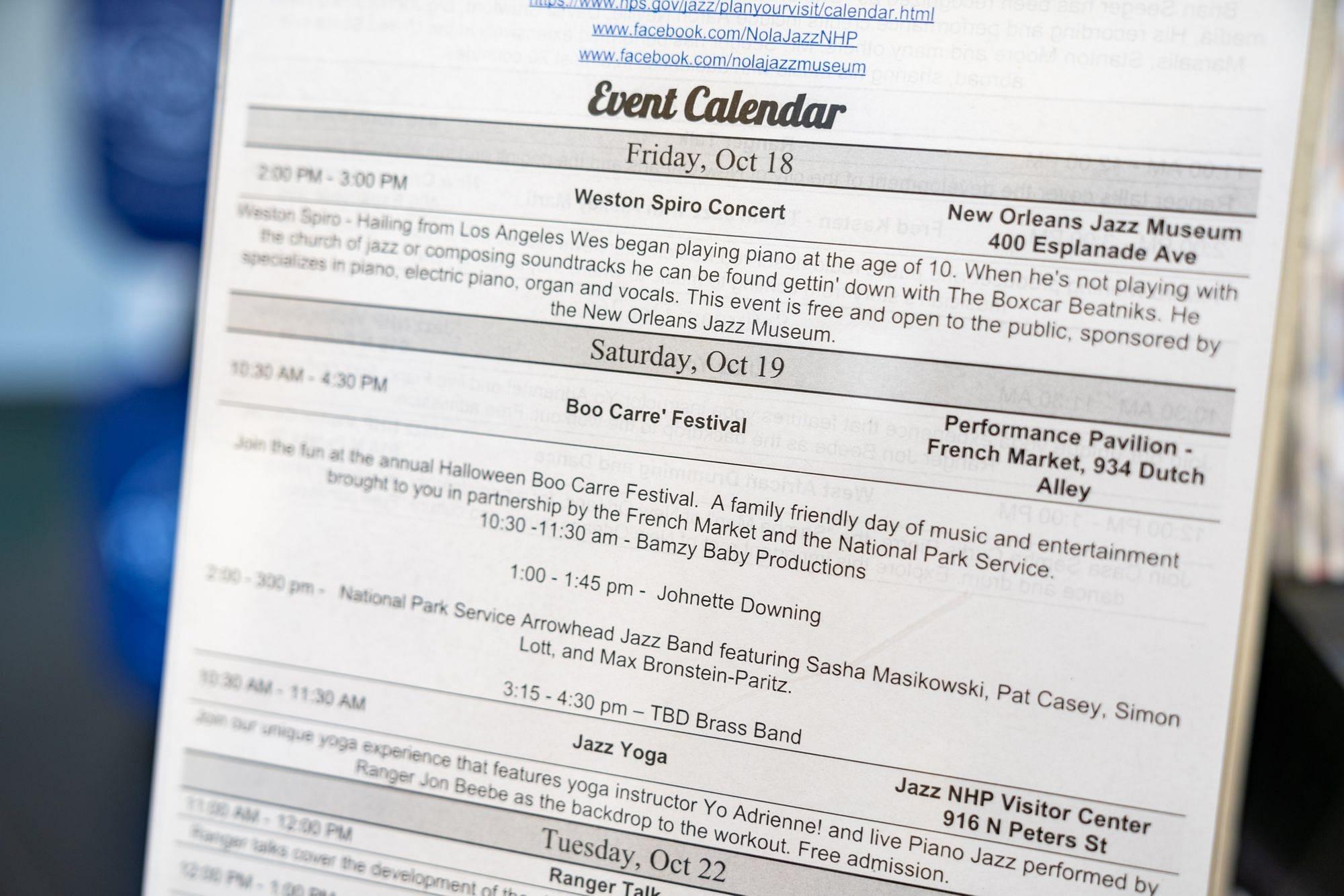 New Orleans Jazz Event Calendar