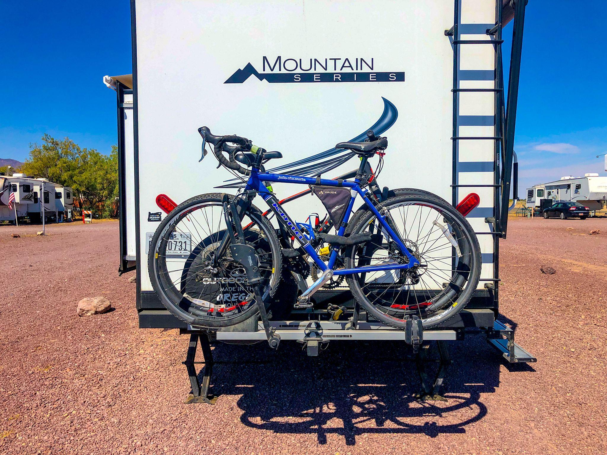 Bikes mounted on Thule T2 Classic Bike Rack