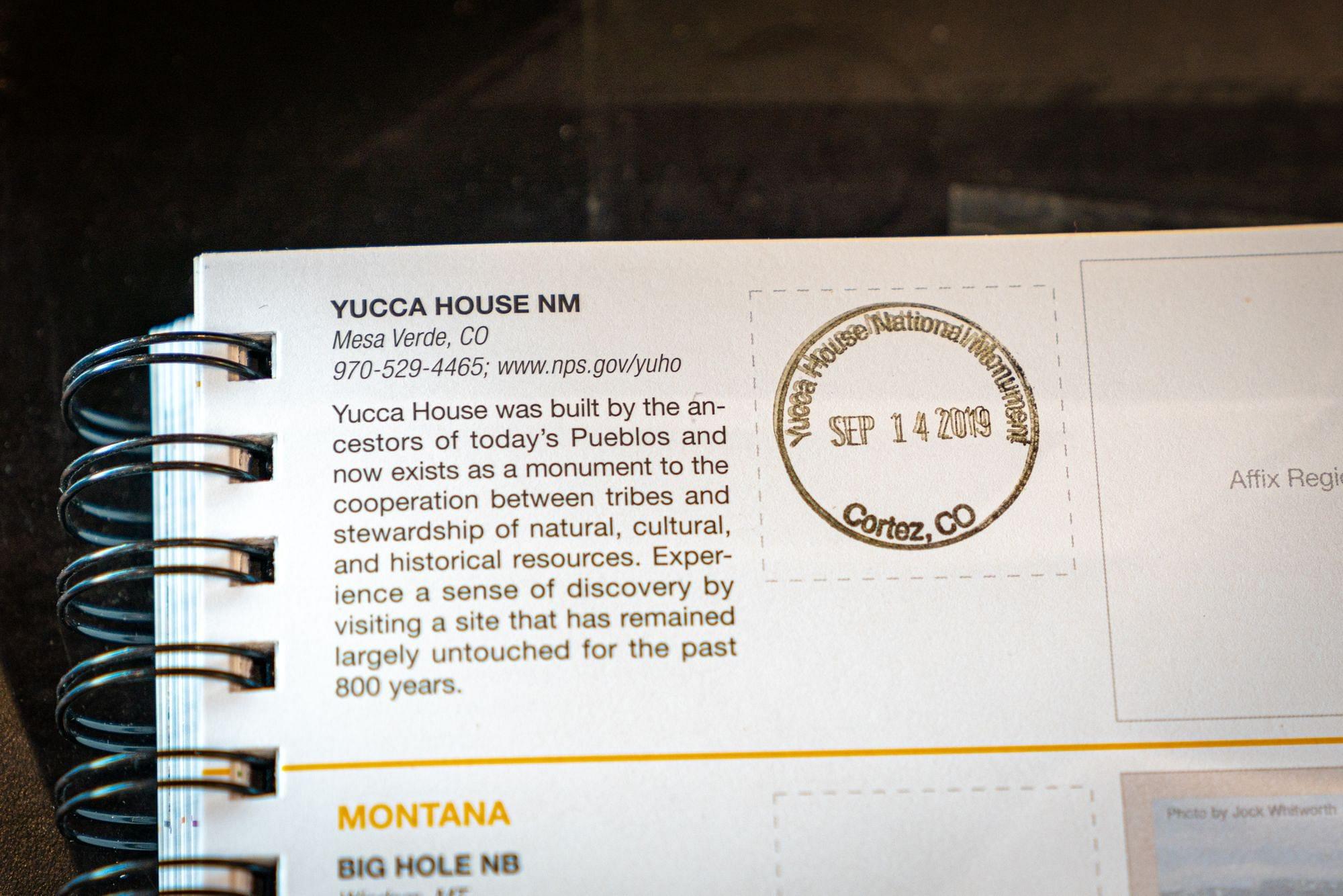 Yucca House Park Passport Stamp