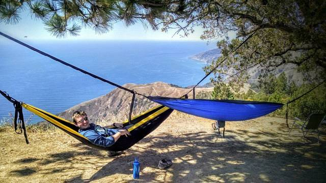 Two hammocks with ocean in the background