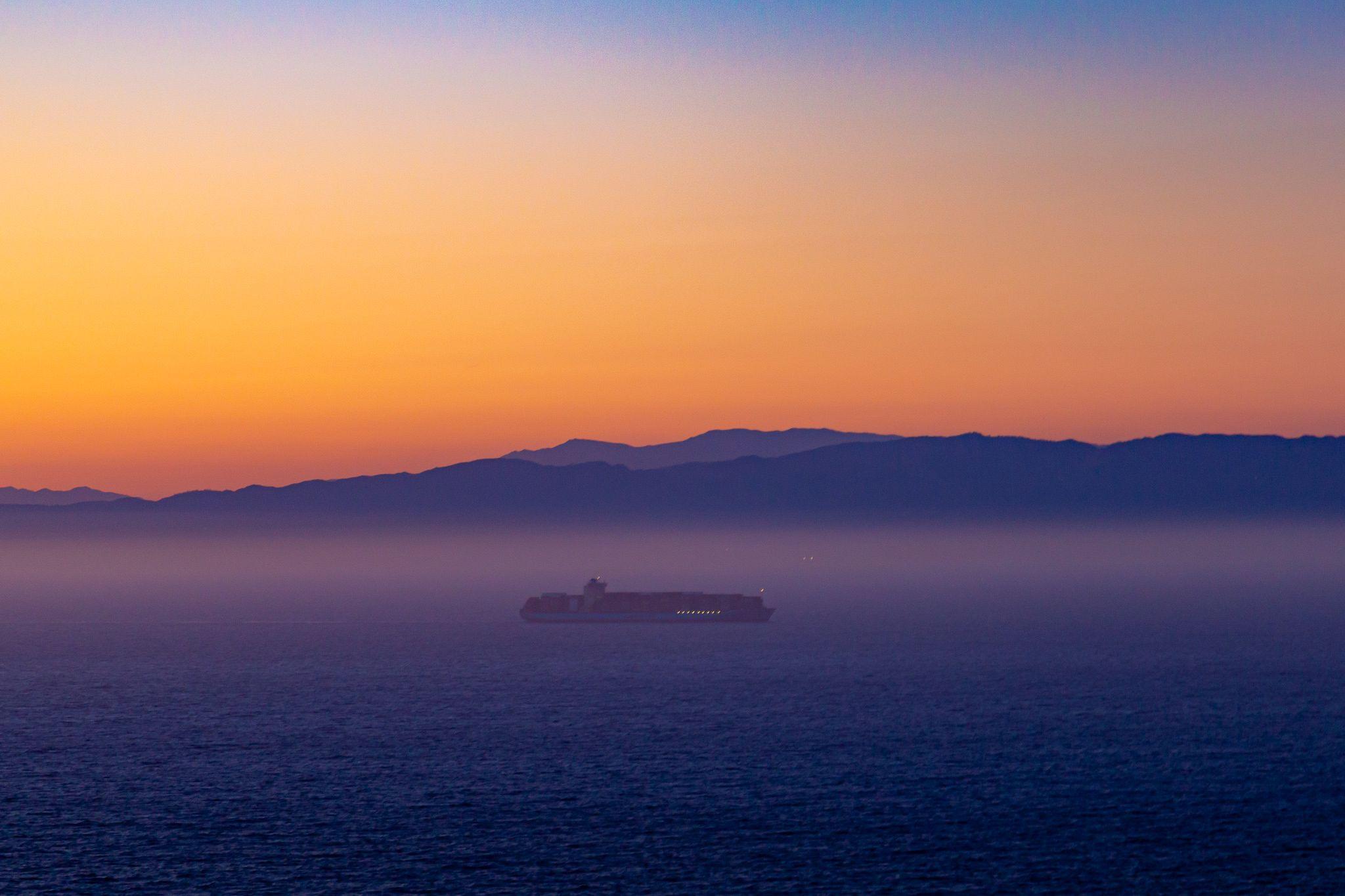 Ship Sailing in Santa Barbara Channel