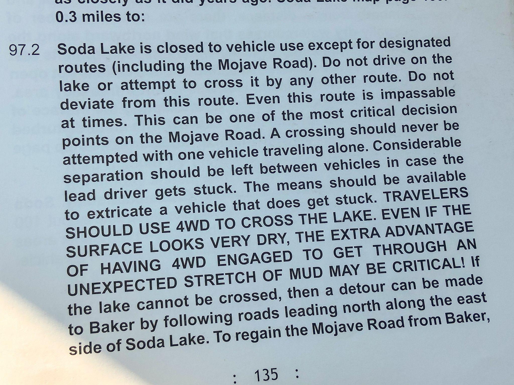 Soda Lake Warning