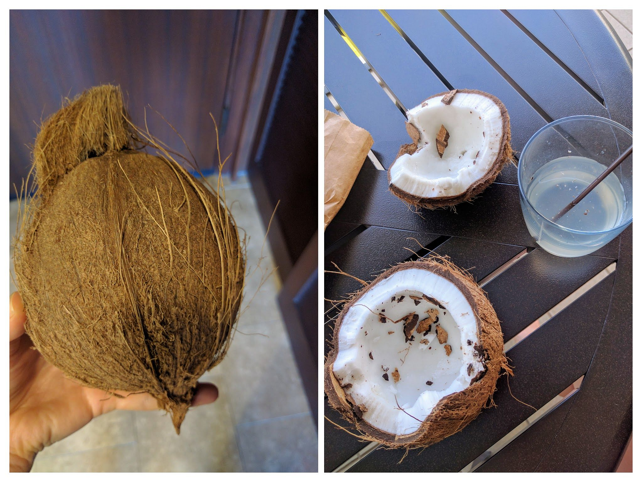 A collage of a whole coconut and an opened coconut.